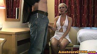British CFNM babe enjoys sucking subs cock