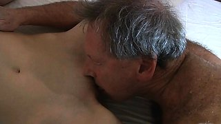 Old hotel customer fucks the young maid