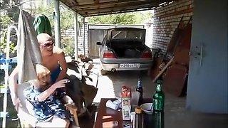 Drunk girl in purple panties