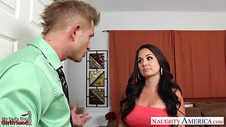 Son fucks dad's new girlfriend Holly West and sucks her nipples