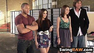 Swinger sluts getting sexy lap dancing lessons