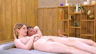 Kinky couple goes together to get a nuru massage and make it a 3-way