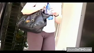 Hidden cam filming a m.i.l.f with cameltoe