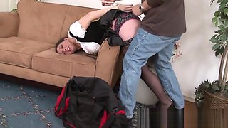 Burglar ties Kiki the maid and makes her cum!