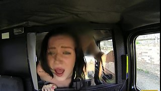 Natural huge tits brunette fucked in fake taxi