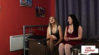 Young voyeur babes help sub guy to jerk off