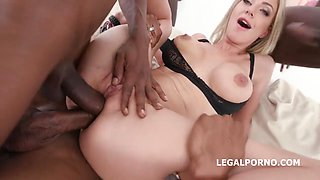 Blond Hair Lady Enjoys Brutal Gang Make Love - Screw Hard Fuck - Nathaly Cherie And Evelina Darling