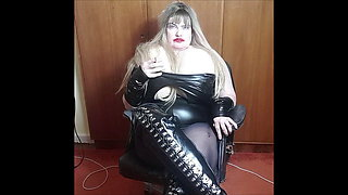 lady in black and boots just showing pussy smoking