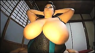 Chubby amateur lady with huge natural boobs dominates a guy