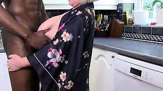 British granny sucks big black dong