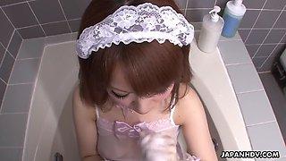 Sub asian maid momoko aiuchi gives boss a handjob