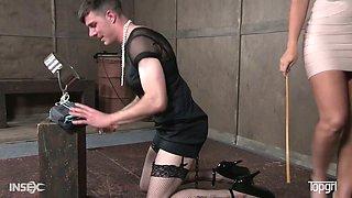 Stunning mistress London River is spanking one kinky cross dresser