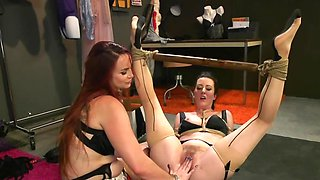 Poor brunette forced to satisfy every order of dominant redhead
