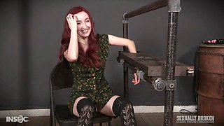 Redhead teen slave girl voluntarily gets tied up and abused