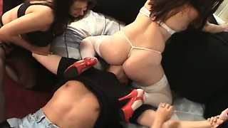 Abused by three curvy girls with trampling