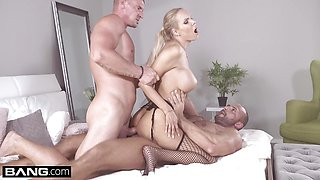 Czech Blonde with big tits dped in threesome