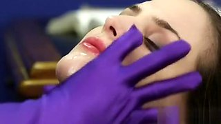 Peculiar Bombshell Gets Jizz Shot On Her Face Eating All The
