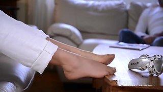 Nicole cum shot on nylon feet