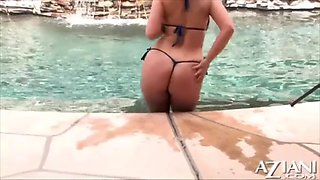 aria giovanni blue string bikini