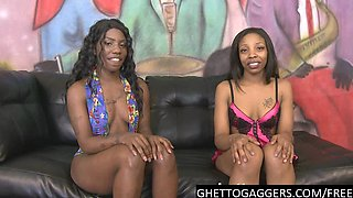 Hot ebony sisters try rough porn