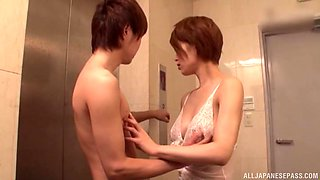 Japanese Kimijima Mio gets her tits and mouth abused by two guys