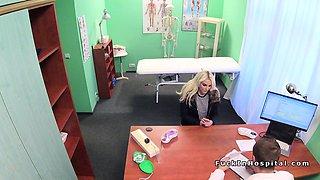 Blonde babe sucks balls to doctor