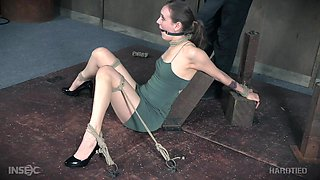Babe in a tight dress Sierra Cirque gets a hardcore whipping abuse