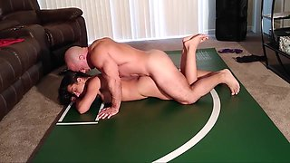 Playful wrestling ends in creampie