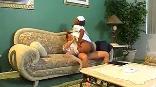 Luscious ebony nurse Caramel gets her pussy plowed by big fat bone