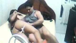 Arab couple stripping and making out in bedroom