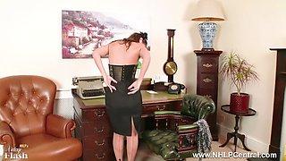 Brunette Secretary Jess West stripteases and masturbates on desk in classy vintage lingerie