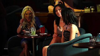 Sexy stripper gives another girl a lesbian lapdance