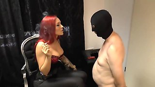 Mistress and her slave as ashtray