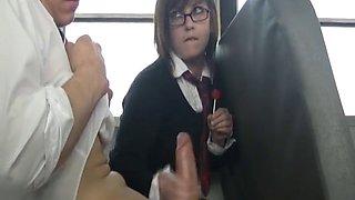 School girl bus handjob
