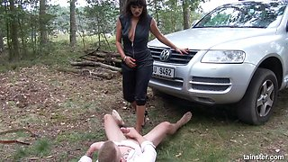 Sexy MILF seduces an innocent guy in the woods