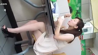 Chinese girl in white skirt voyeur part 1