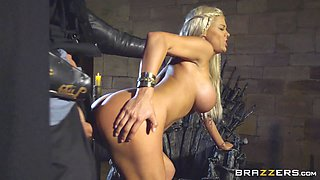 Busty blonde decides to give a cowgirl cock ride on the Iron Throne