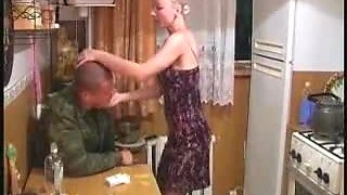 Drunken solder fucks blonde wife