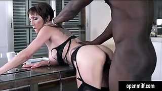 Euro Milf Fucked hard by Big Black Cock on her Kitchen