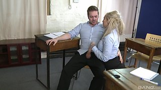 Threesome sex in the office with upskirt secretary Louise Lee