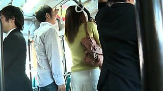 Huge bust on an oriental hottie getting manhandled in a bus