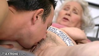 Super Old Granny Wants Her Hairy Pussy To Feel Fresh Again