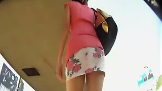 Mini skirt bus upskirt