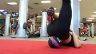 Blonde working out at the gym