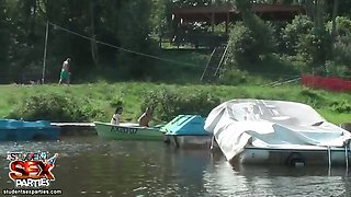 Students sailing in a boat
