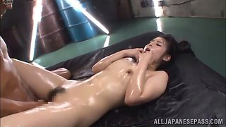 an oiled up threesome with two guys for the asian slut ruka kanae