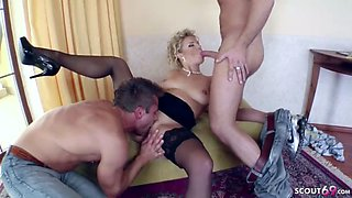 Hot mother seduce two friends of her son to fuck in 3some