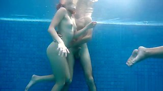 Exxxtra small teens in the pool. Sex with young friends!