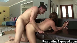 Dude sucks juicy titties of Sabrina Taylor and gets treated with cock riding