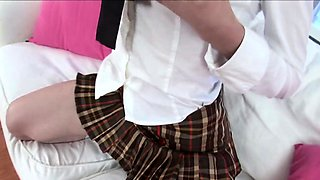 Talking a shy and inexperienced 18 y.o. Schoolgirl into her